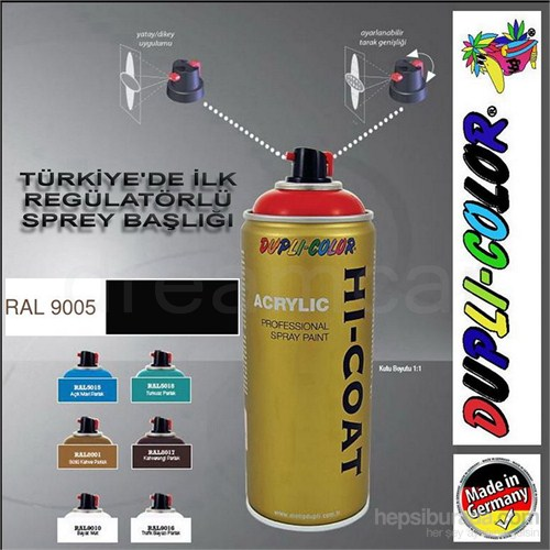 Dupli-Color Hi-Coat Ral 9005 Mat Siyah Akrilik Sprey Boya 400 Ml. Made in Germany 406225