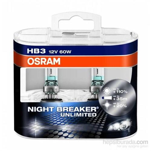 OSRAM Night Breaker Unlimited HB3 Ampul 2 li Set+ %110 Fazla Beyaz Gün Işığı 4000K