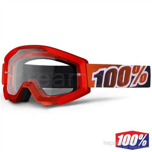 %100 The Strata Ateş Kırmızısı Motocross Gözlük Şeffaf Lens