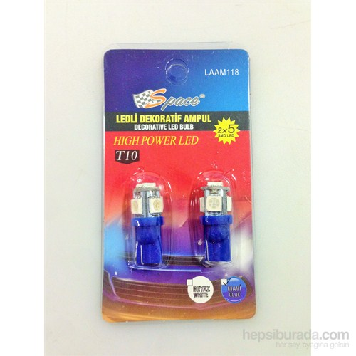Space Dekoratif Led Ampul T10-(2X5 Smd Led)Mavi 12V Laam118212