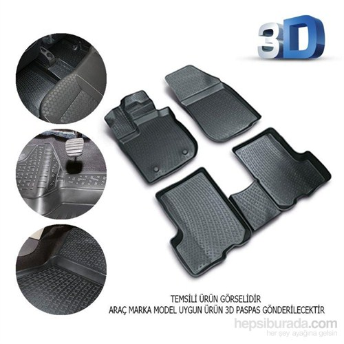Citroen C4 2004 2010 3D Kauçuk Paspas Siyah