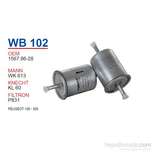 Wunder PEUGEOT 106 - 306 Benzin Filtresi OEM NO:1567.86-28