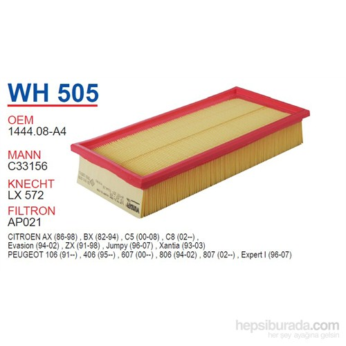Wunder PEUGEOT 405 - 406 - 607 - 806 - EXPERT - 407 Hava Filtresi OEM NO:1444.08-A4