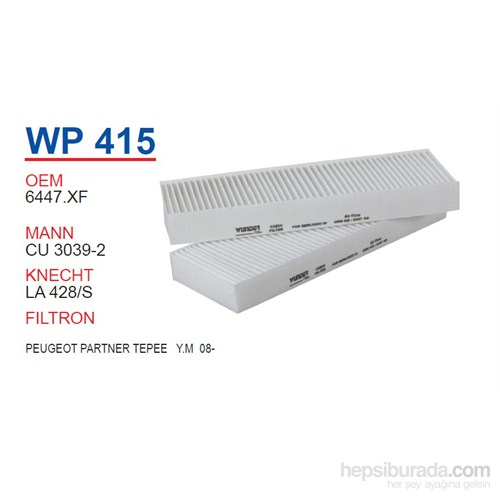 Wunder PEUGEOT PARTNER TEPEE Y.M 12- Polen Filtresi OEM NO:1444.XF