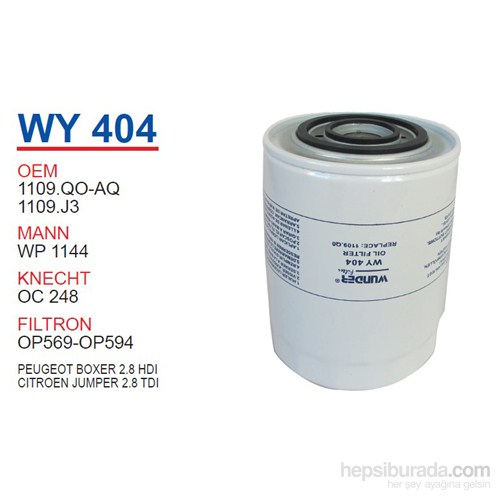 Wunder PEUGEOT BOXER 2.8 HDI Yağ Filtresi OEM NO:1109.QO-AQ