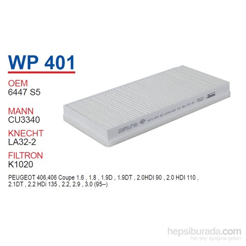 Wunder PEUGEOT 406 Polen Filtresi OEM NO:6447.S5