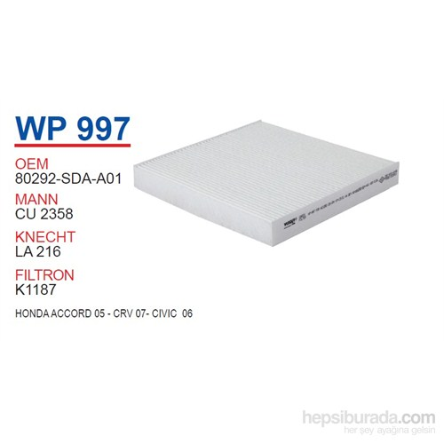 Wunder HONDA ACCORD 05 - CRV 07- CiViC 06 Polen Filtresi OEM NO:80292-SDC-505HE