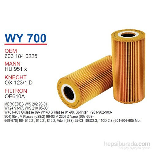Wunder MERCEDES 210 KASA SPRiNTER - ViTO 601-604-605 MOTOR Yağ Filtresi OEM NO:6061840525