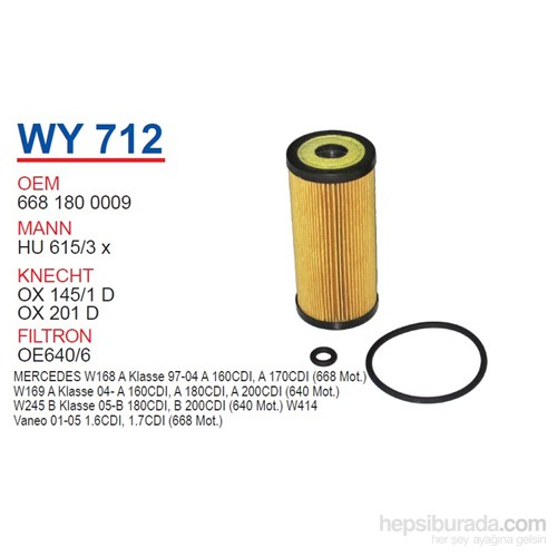 Wunder MERCEDES 168 KASA A160 CDI- A170 CDI - VANEO CDI 668 MOTOR Yağ Filtresi OEM NO:6681800009