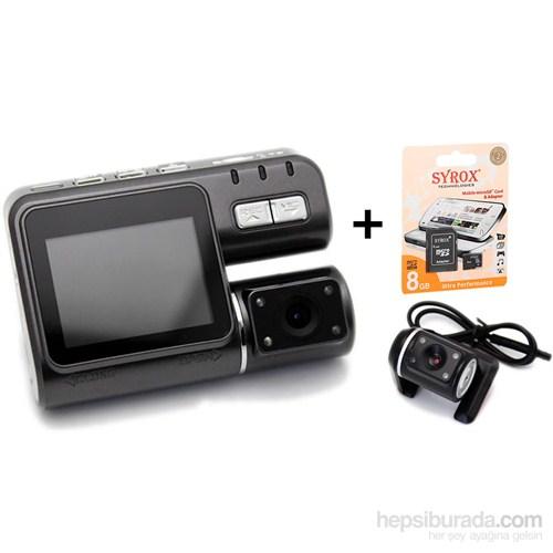 Goplay Gp101 HD-DVR 2.5 Hareket Sensörlü Çift Lensli Araç İçi Kamera Türkçe Menü+8 GB Kart Hediyeli ( 2 KAMERALI )