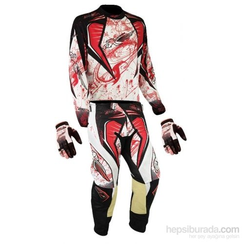 Prosev MX-40 Jersey Alt-Üst Takım Kross Kıyafeti + Eldiven Üçlü Set (Kırmızı-Beyaz)