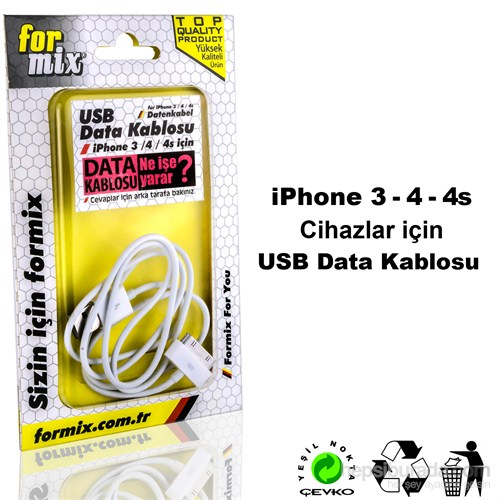 For Mix Data Kablosu İphone 4/4S