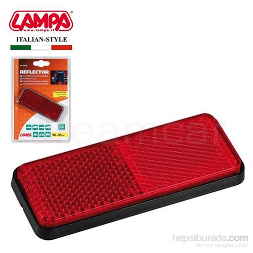 Lampa E11 Belgeli Kırmızı Dikdörtgen Reflektör 90160