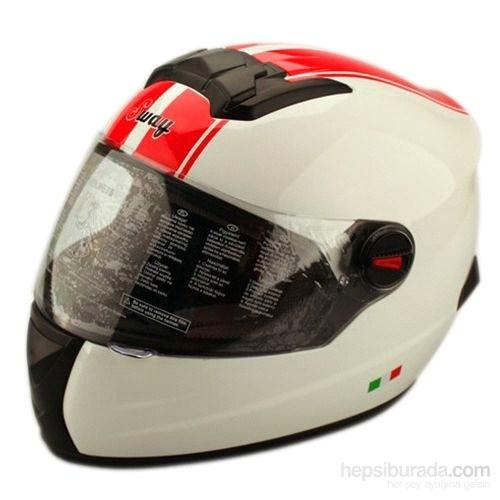 Sway 806 Full Face ECER Sertifikalı Beyaz Kırmızı Yol Kask