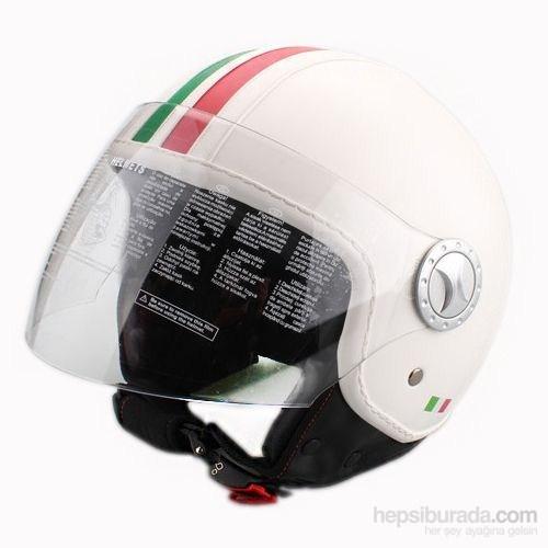 Sway 701 Open Face İtalyan Stil Deri ECER Sertifikalı Beyaz Kask