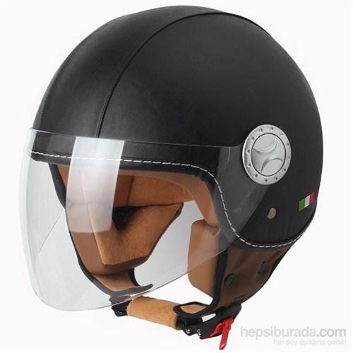 Sway 701 Open Face İtalyan Stil Deri ECER Sertifikalı Siyah Kask