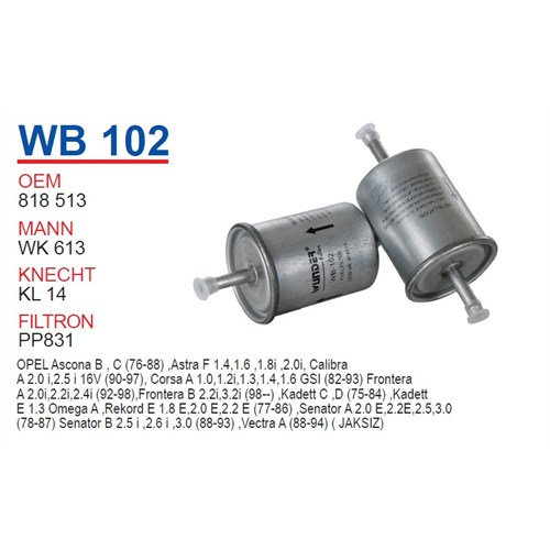 Wunder OPEL Astra TIRNAKSIZ Tip Benzin Filtresi OEM NO: 818513