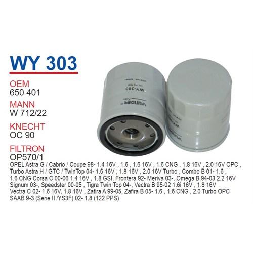 Wunder OPEL Astra Yağ Filtresi OEM NO: 650401