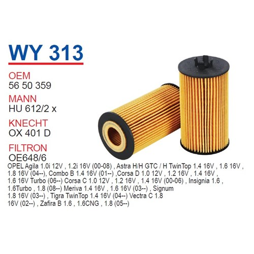 Wunder OPEL Corsa D Kasa 1.4 16V Yağ Filtresi OEM NO: 5650359