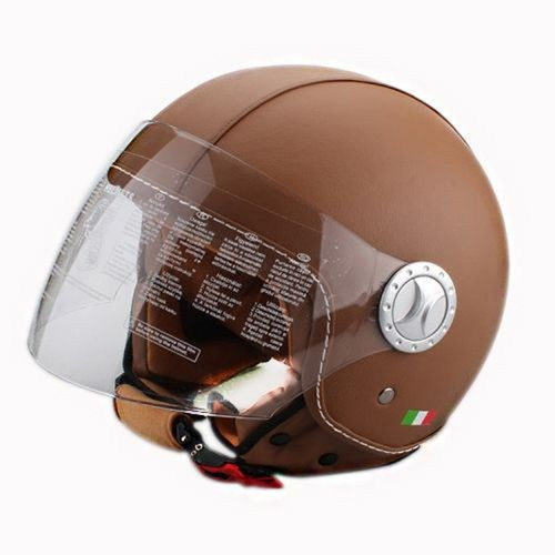 Sway 701Dr Open Face İtalyan Stil Deri Kahverengi Unisex Kask - 6 Beden