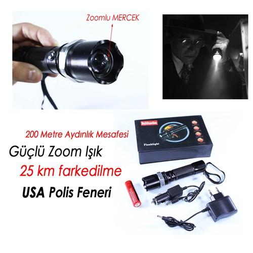 Biartt Flaslight Zoom Şarjlı Polis Led El Feneri