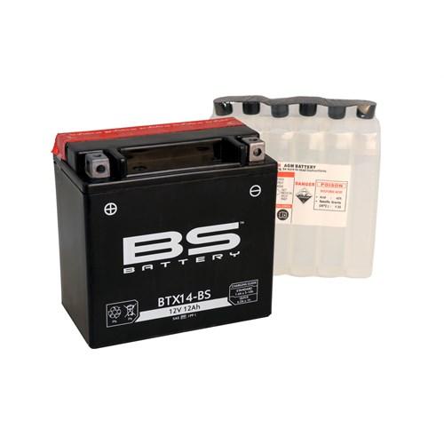 Bs-Battery Btx14-Bs (Ytx14-Bs) 12V 12Ah 200Cca Agm Bakımsız Motosiklet Aküsü