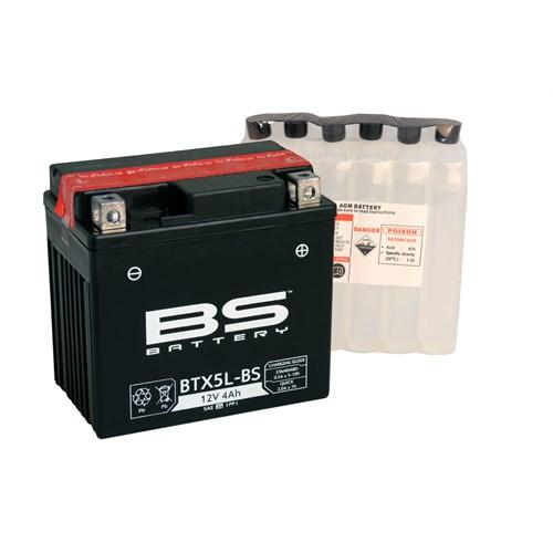 Bs-Battery Btx5l-Bs (Ytx5l-Bs) 12V 4Ah 70Cca Agm Bakımsız Motosiklet Aküsü
