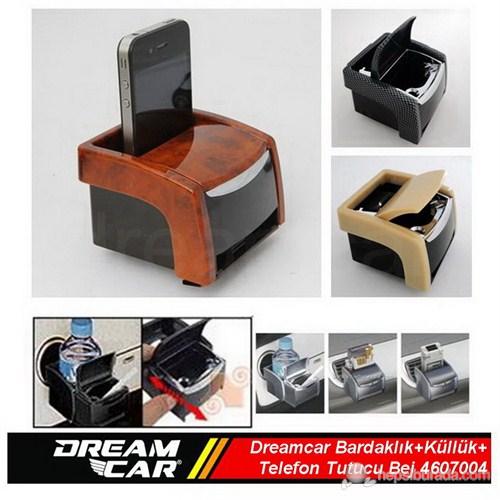 Dreamcar Çok Fonksiyonlu Bardaklık+Küllük+Telefon Tutucu Birarada Bej 4607004