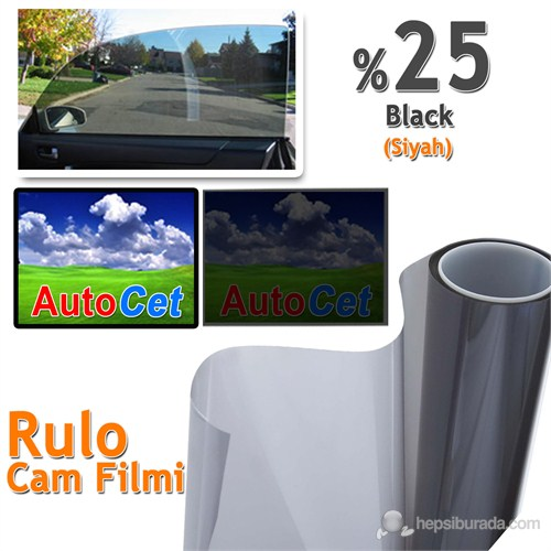 AutoCet 75 cm 8 MT Çizilmez Renkli Rulo Cam Filmi Siyah %25 Black (25278)