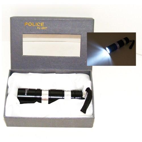 Police 9 Ledli Mini El Feneri Siyah Krom