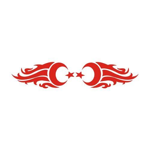 Z tech Gölgeli bayrak stickerı kırmızı (18x4cm)