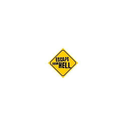 Dreamcar Vantuzlu Amblem ''ESCAPE FROM HELL'' (Cam Yüzeylere Yapıştırılabilir.) 3300725