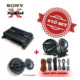 Sony XM-N502 2 yollu Amfi ile XS-N1620C Mid Takım ve XS-GT1738F 17cm Hoparlör Set.Kablo Seti