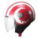 Spyder Motosiklet Kaskı Yarım Camlı 701 Kırmızı Beyaz Ayyıldız Xxl