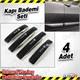 AutoCet Sport Nikelaj Siyah Kapı Badem 4 Lü Set 3506a