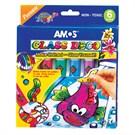 Amos Glass Deco Sökülebilir Cam Boyası 1 Kontur 5 Renk 10,5 Ml GD10P6