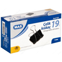 Mas Omega Çelik Kıskaç (siyah 19 mm) (12'li kutu)