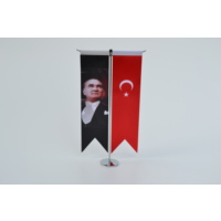 Bayrakal M.K.Atatürk Resmi ve Türk Bayrağı Kırlangıç Masa Bayrak Takımı