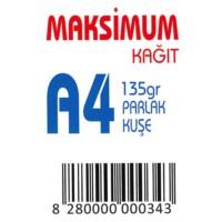 Maksimum A4 Kuşe Kağıt Gramajlı Parlak 135 Gr. 250 Adet