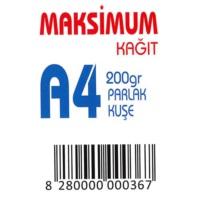 Maksimum A4 Kuşe Kağıt Gramajlı Parlak 200 Gr. 250 Adet