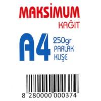 Maksimum A4 Kuşe Kağıt Gramajlı Parlak 250 Gr. 250 Adet