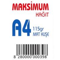 Maksimum A4 Kuşe Kağıt Gramajlı Mat 115 Gr. 250 Adet