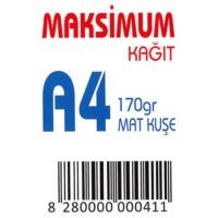 Maksimum A4 Kuşe Kağıt Gramajlı Mat 170 Gr. 250 Adet