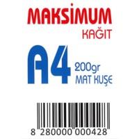 Maksimum A4 Kuşe Kağıt Gramajlı Mat 200 Gr. 250 Adet