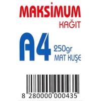 Maksimum A4 Kuşe Kağıt Gramajlı Mat 250 Gr. 250 Adet