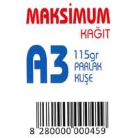 Maksimum A3 Kuşe Kağıt Gramajlı Parlak 115 Gr. 250 Adet
