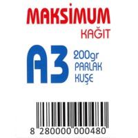 Maksimum A3 Kuşe Kağıt Gramajlı Parlak 200 Gr. 250 Adet