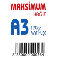 Maksimum A3 Kuşe Kağıt Gramajlı Mat 170 Gr. 250 Adet