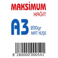 Maksimum A3 Kuşe Kağıt Gramajlı Mat 200 Gr. 250 Adet