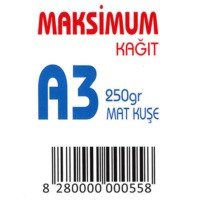Maksimum A3 Kuşe Kağıt Gramajlı Mat 250 Gr. 250 Adet